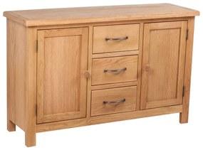 241677 vidaXL Servantă cu 3 sertare, 110 x 33,5 x 70 cm, lemn masiv de stejar