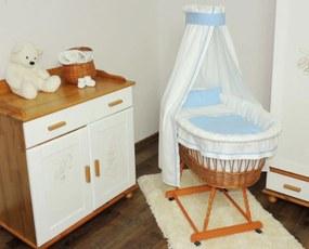 de răchită pat cu albastru set lenjerie Pat împletit cu un set albastru de așternut