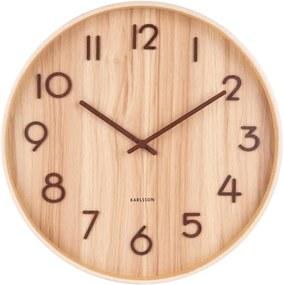 Ceas de perete din lemn de tei Karlsson Pure Medium, maro deschis, ø 40 cm