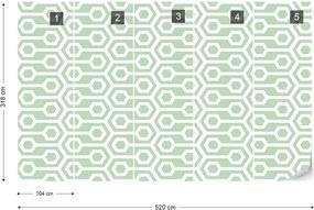 Fototapet GLIX - Green Geometric Retro Pattern + adeziv GRATUIT Tapet nețesute  - 520x318 cm