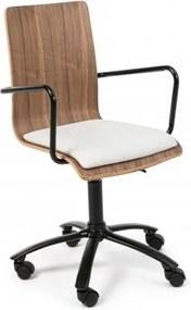 Scaun de birou din pal cu sezut tapitat, Carmen Natural / Alb, l51xA55xH88-100 cm