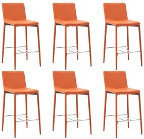 279684 vidaXL Scaune de bar, 6 buc., portocaliu, piele ecologică