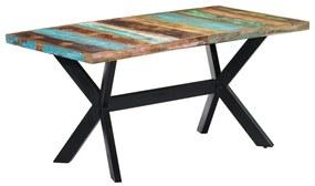 247435 vidaXL Masă de bucătărie, 160 x 80 x 75 cm, lemn masiv reciclat