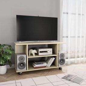 800192 vidaXL Comodă TV cu rotile, stejar Sonoma, 80 x 40 x 40 cm, PAL