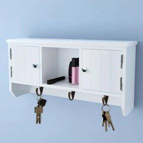 Dulap de perete pentru chei și bijuterii, cu uși și cârlige