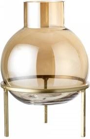 Vaza maro din sticla cu suport metalic auriu Stand Bloomingville
