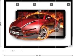 Fototapet GLIX - Red Sport'S Car Flames + adeziv GRATUIT Papírová tapeta  - 368x254 cm