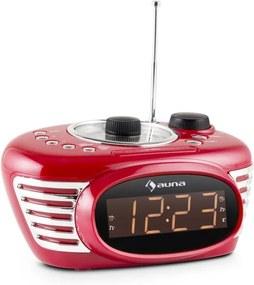Auna RCR 56 RD, ceas cu alarmă retro, FM, AUX, alarmă dublă, roșu