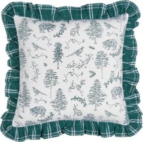 Fata de perna bumbac verde alb Forest 40*40 cm