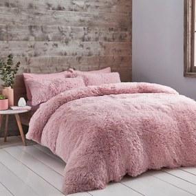 Lenjerie de pat din micropluș Catherine Lansfield Cuddly, 200 x 200 cm, roz