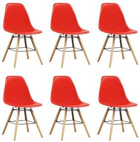 248273 vidaXL Scaune de bucătărie, 6 buc., roșu, plastic