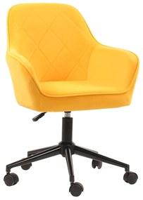 Scaun de birou, ţesătură de catifea galben / negru, SORILA