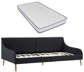 279148 vidaXL Cadru pat de zi cu saltea spumă memorie, gri închis, textil