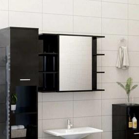 802613 vidaXL Dulap de baie cu oglindă, negru extralucios, 80x20,5x64 cm, PAL