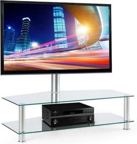 Electronic-Star FAVS19, masă tv cu suport, 37-50 inci, 2 rafturi din sticlă, culoare argintie