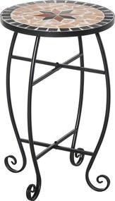 Outsunny Masuta de Gradina si Exterior din Metal si Ceramica Neagra si Portocalie