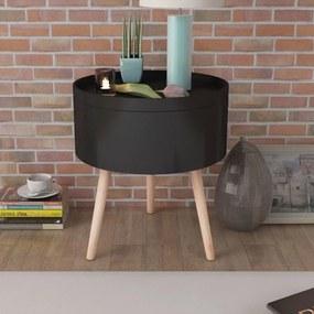 243403 vidaXL Masă laterală rotundă cu tavă de servire, 39,5x44,5 cm, negru