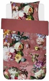 Lenjerie de Pat din Bumbac Satinat, 140x220 cm  - Fleur Rose