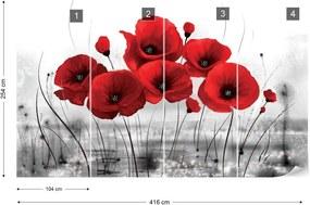 Fototapet GLIX - Red Poppies + adeziv GRATUIT Tapet nețesute - 416x254 cm