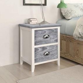 284047 vidaXL Noptieră, gri și alb, 38 x 28 x 45 cm, lemn de paulownia