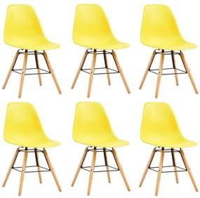 248270 vidaXL Scaune de bucătărie, 6 buc., galben, plastic