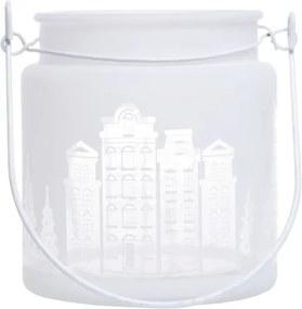 Sfeșnic din sticlă Ewax Village, ⌀ 11 cm, alb