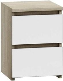Noptiera cu 2 sertare, model Malwa M2, culoare mix stejar