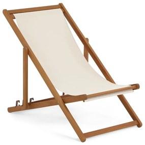 Șezlong pliabil de plajă din lemn de salcâm La Forma Adredna, gri deschis