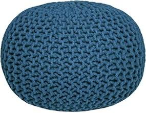 Puf tricotat LABEL51 Knitted, albastru