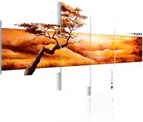 Tablou - Orange clouds over the savannah 100x45 cm