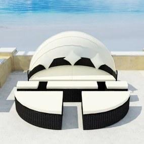 Set mobilier de exterior cu baldachin din poliratan 2-în-1 Negru