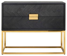 Comoda Blackbone, Otel Inoxidabil Lemn, Negru Auriu, 87x108x45 cm