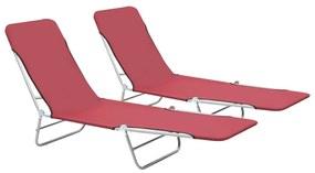44301 vidaXL Șezlonguri de plajă pliabile, 2 buc., roșu, oțel & textil