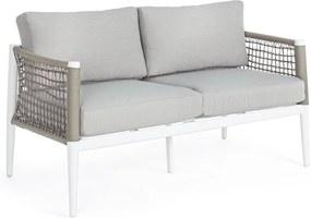 Canapea 2 locuri cu cadru din fier alb si perne textil gri Calypso 137 cm x 71 cm x 80 h
