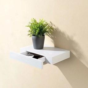 Raft alb de perete cu sertar, 60 cm