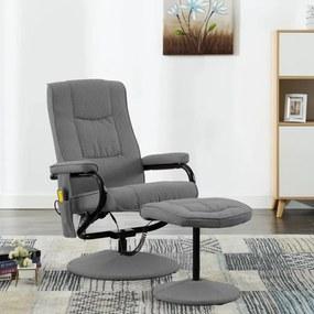 249315 vidaXL Fotoliu de masaj rabatabil suport picioare gri deschis textil