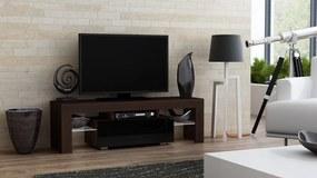 Mazzoni Masă RTV MILANO 130 + LED wenge / negru