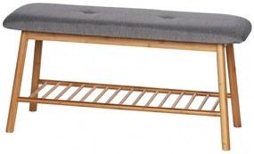 Banca tapitata cu stofa si picioare din bambus, cu suport pantofi, Bahari Natural / Gri, l90xA34xH45 cm
