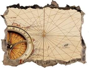 Samolepící díra na stěnu Kompas na mapě