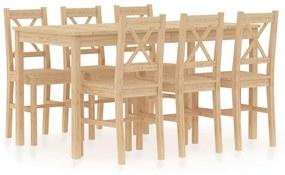 283373 vidaXL Set mobilier de bucătărie, 7 piese, lemn de pin