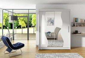 Expedo Dulap dormitor cu uşi glisante CARLA S cu oglindă, 180x215x57, alb mat