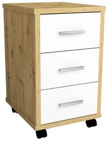 429440 FMD Dulap mobil cu sertare, stejar artisan și alb strălucitor