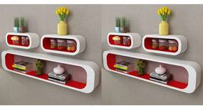 275976 vidaXL Rafturi cub de perete, 6 buc., roșu și alb