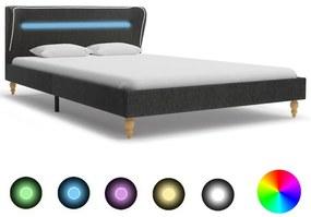 280594 vidaXL Cadru de pat cu LED-uri, gri închis, 140x200 cm, pânză de sac