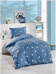 Lenjerie din bumbac pentru pat de o persoană Jussno Mento, 140 x 200 cm, albastru