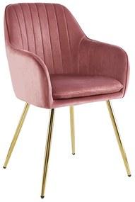Fotoliu design, ţesătură de catifea roz / crom-auriu, ADLAM
