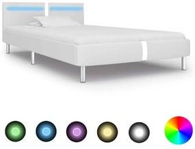280851 vidaXL Cadru de pat cu LED, alb, 90 x 200 cm, piele artificială