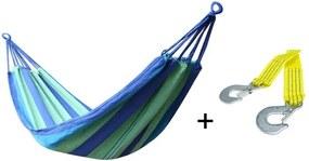 Set Hamac Dublu pentru 2 Persoane, Multicolor, Dimensiuni 200x160cm + Franghie suspendare hamac, lungime 1 m, carlige prindere metal