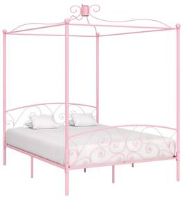 284490 vidaXL Cadru de pat cu baldachin, roz, 160 x 200 cm, metal