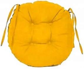 Perna decorativa rotunda, pentru scaun de bucatarie sau terasa, diametrul 35cm, culoare galben